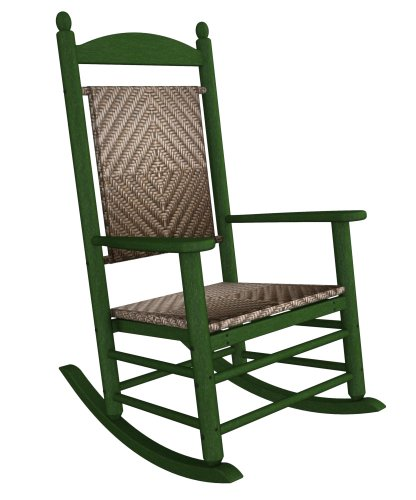 (Rocker Jefferson Woven Chair Seat/Back Finish: Cahaba, Frame Finish: Green)