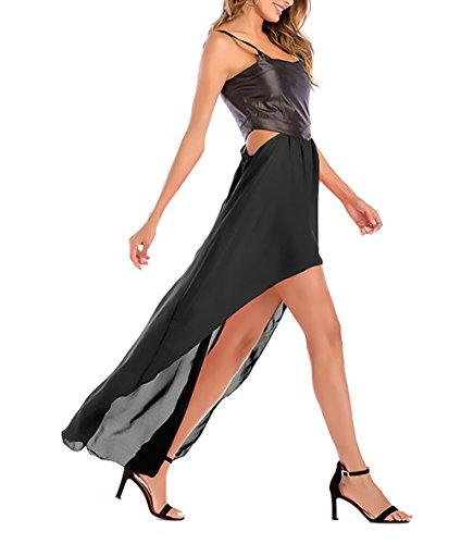 Ecopelle Lungo Donna Vestito Casual Damigella Estivi Huixin Chiffon Eleganti Asimmetrico Giovane Vestiti Senza Cucitura Fashion Vestitini Maniche Nero Lunghi Vestiti wTax5xqI