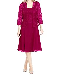 Modest Mother Of Bride Dress Jacket with 3/4 Sleeves Formal Prom Gown Hot Pink US16W