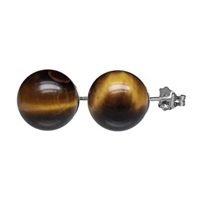 8 mm TIGER/'S  EYE   Sterling   Silver   Gemstone  Earrings STUDS
