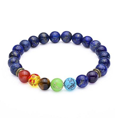 Mens Natural Gemstone Bracelet (8mm Seven Chakra Lapis Lazuli Bead Bracelet - Elastic Natural Gemstone Healing Yoga Bracelet)