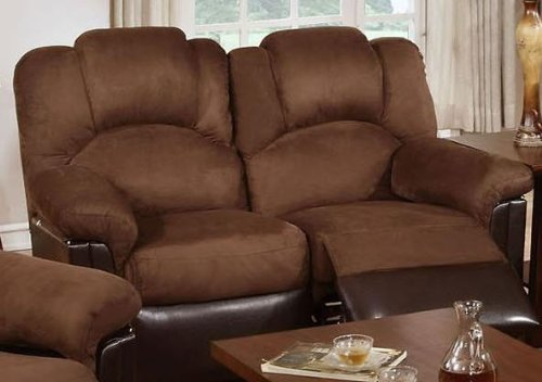 Bobkona Motion Loveseat in Chocolate Microfiber by Poundex