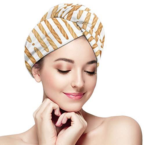 - IGYoh Baguette Bread Women Microfiber Quick Dry Hair Towel Soft Absorbent Shower Hat