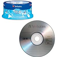Verbatim 700MB 52x 80 Minute Branded Recordable Disc CD-R, 30-Disc Spindle 95152