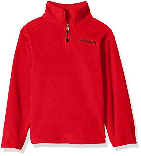 Avalanche Little Boys' Quarter Zip Fleece Pullover, Alpine Red, 7 - Alpine Kids Sweater