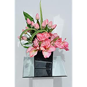 Elegant Artificial Pink Tulip and Amaryllis Acrylic Cube Floral Arrangement 6