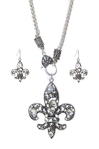 (Droniera Fleur DE LIS New Orleans Marcasite Clear Crystal Necklace Earring Set)
