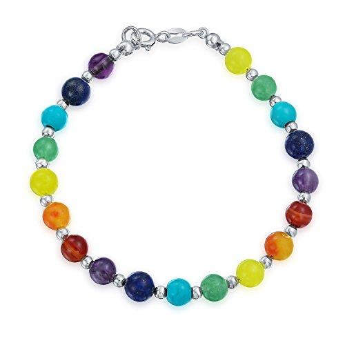 (Sterling Silver 6MM Multicolor Gemstone Beads Bracelet)