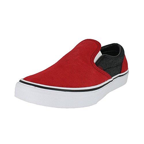 Vans Kids K Clasic Slip on Suede Suiting Red Black Racing Size 3.5 Suede Boys Slip On