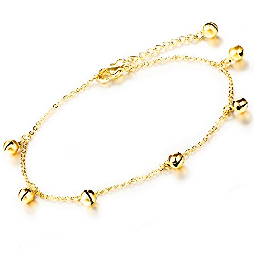 Marrymi Anklet with Bells for Women Gold Anklet Titanium Steel Girls Adjustable Beach Anklet Jewelry
