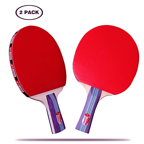 Ping Pong Paddles Professional Table Tennis Set with Carry Case (2PCS)