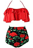 Cocoship Red Rose Floral & Red Retro Boho Flounce Falbala High Waist Bikini Set Chic Swimsuit Bathing Suit M(FBA)