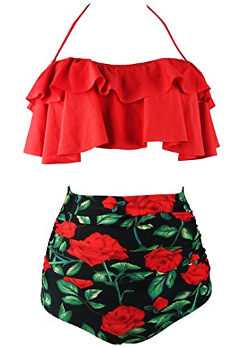 COCOSHIP Red Rose Floral & Red Retro Boho Flounce Falbala High Waist Bikini Set Chic Swimsuit Bathing Suit S(FBA) (Retro-chic)