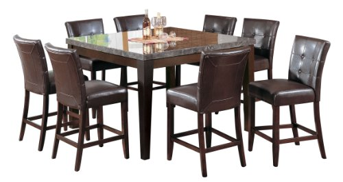 Acme 07059 Danville Marble Top Dining Table, Black