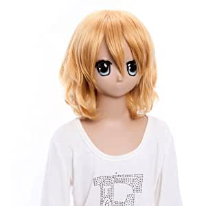 SureWells Costume Wigs Charming Touhou Project Alice Blond Wavy Curly Cosplay Wigs