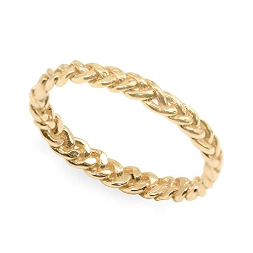Braided gold ring band Stackable women wedding jewelry 14k/18k Yellow rose white solid gold size 2-11