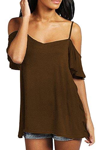 - FISOUL Women's Off Shoulder Top Ruffle Sleeve Spaghetti Strap Halter Tops Coffee l