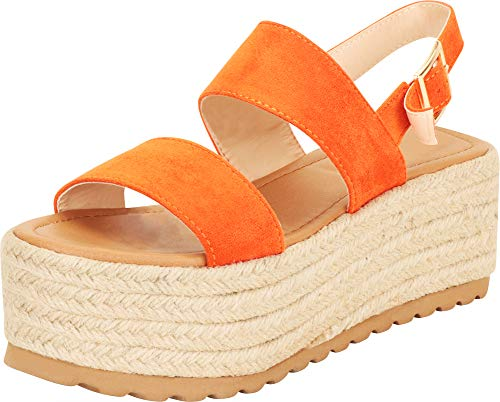 Cambridge Select Women's Two-Strap Slingback Chunky Espadrille Flatform Sandal,9 B(M) US,Orange IMSU