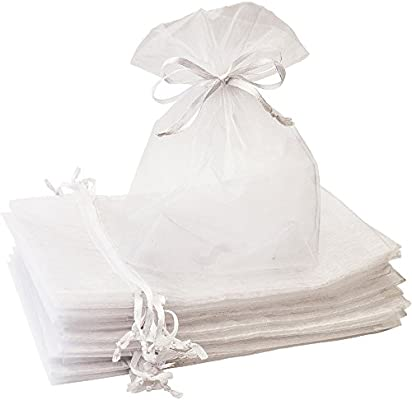 Creative Organza Bags 100 Pcs 5x7 inches Special White Sheer Drawstring Gift Bags Perfect for Weddings, Party Favors, Candy, Jewelry, Makeup, ...