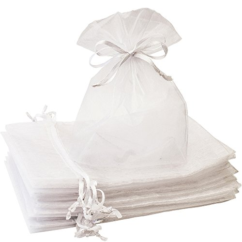 Creative Organza Bags 100 Pcs 5x7 inches White Sheer Mesh Gift Bag with Drawstring Perfect for Weddings, Party Favors, Candy, Jewelry, Makeup, Cosmetics, Bathroom Soaps Pouches, DIY Craft, Organizer -