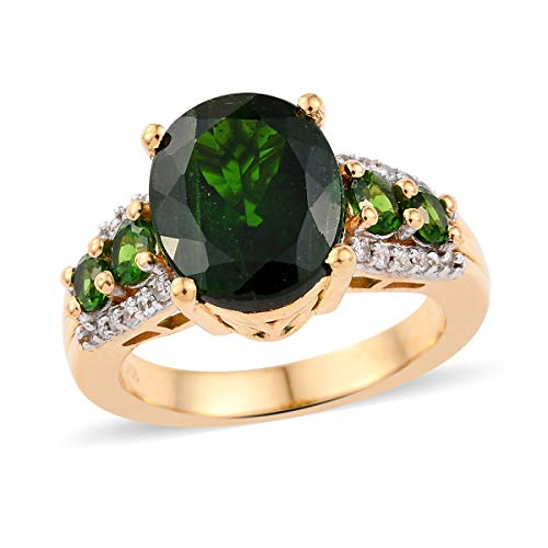 Promise Ring 925 Sterling Silver Vermeil Yellow Gold Chrome Diopside Zircon Jewelry for Women Size 9 Cttw 3.4