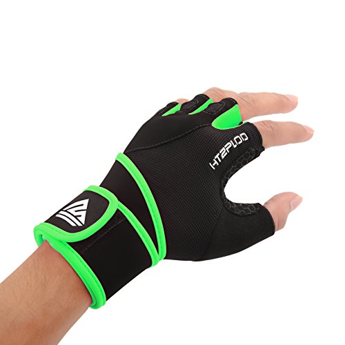 HTZPLOO Weight Lifting Gloves Workout Gloves with Wrist Wraps,Full Palm Pad & Enhanced Grip for Bodybuilding,Gym,Cross Fit,Fitness,Training Exercise Men & Women (Black&Green, X-Large)