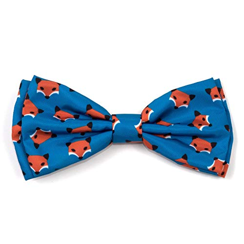 The Worthy Dog Foxy Fox Pattern Bow Tie for Pets Teal, -