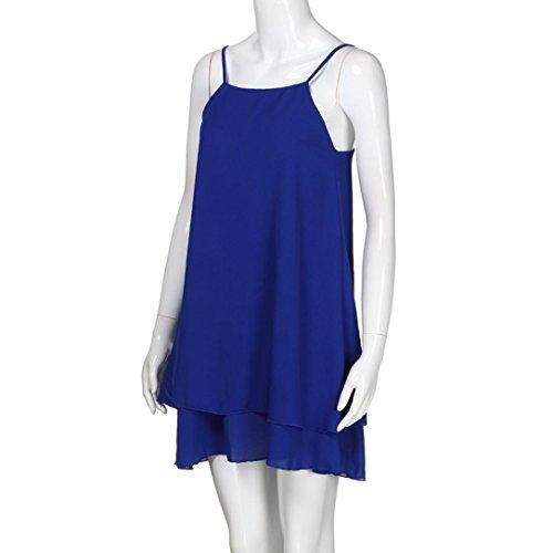 Estate Vestito Mini Blu Delle Casuale Da Allentata g Spiaggia Breve Solida Vestito Strappy Signore Vestito Bretelle L'estate Tian Più Donne nq1xHpwZnz
