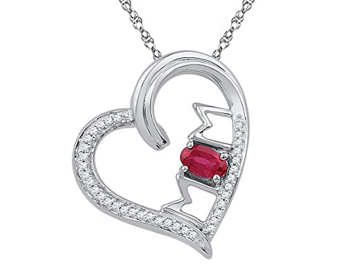 Diamond Heart Ct 1/2 Necklace (10K White Gold MOM Heart Pendant Necklace with Lab Created Heart Ruby 1/2 Carat (ctw) and Accent Diamonds)