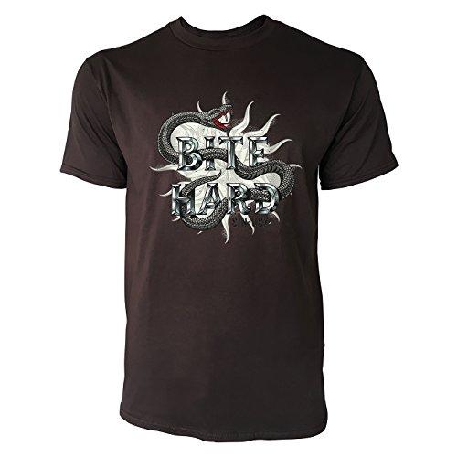 SINUS ART® Schlange im Tattoo Stil – Bite Hard Herren T-Shirts in Schokolade braun Fun Shirt mit tollen Aufdruck
