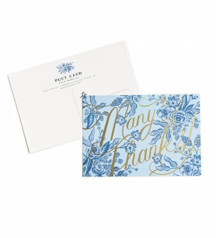 Blue Toile Thank You Postcards by Rifle Paper Co. -- Set of 10