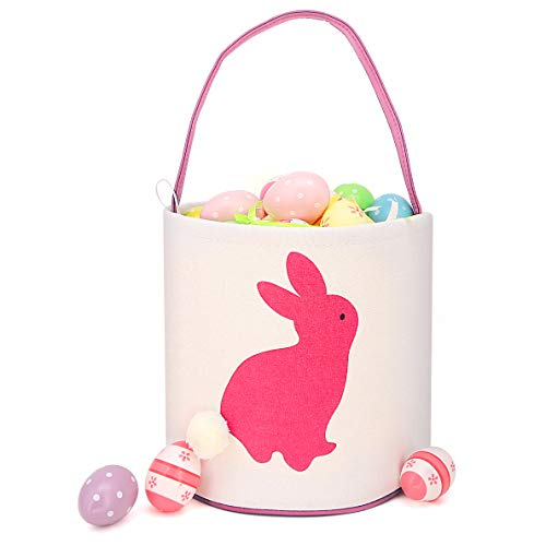 Easter Bunny Basket for Egg Hunts. Rabbit Cartoon Decorated Cylinder Shape Bag with Handle. Dual Layer Bunny Picture Handbag for Kids to Carry Eggs, Gifts, Presents. 10