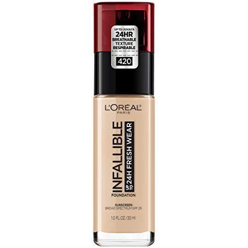 - L'Oréal Paris Makeup Infallible up to 24HR Fresh Wear Liquid Longwear Foundation, Lightweight, Breathable, Natural Matte Finish, Medium-Full Coverage, Sweat & Transfer Resistant, True Beige, 1 fl. oz.