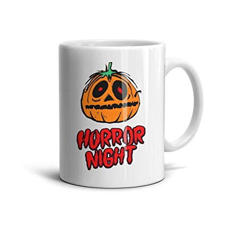 DoorSignHHH Halloween Pumpkin Horror Night Simple Coffee Mug Colorful White Ceramic Inspirational Reusable Espresso Cup -