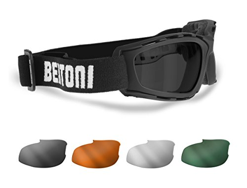 (Motorcycle and Extreme Sports Goggles with 4 Interchangeable Lenses included by Bertoni Italy - AF120B Motorcycle Padded Glasses)