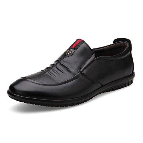 GRRONG Zapatos De Cuero De Los Hombres De Negocios De Ocio Negro Marrón Black