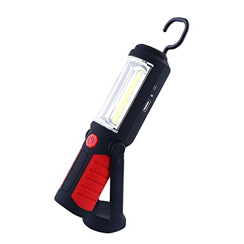 GVDOR 650Lm COB LED Flashlight USB Rechargeable Inspection Light with Magnetic Stand Hook Work for Camping Household Workshop Automobile (Red)