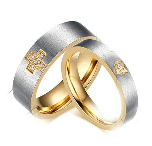 Sims Diamond Costume (Gnzoe Mens Womens Stainless Steel Ring, English Lord's Prayer Cross Heart 6mm Band, Silver Size 8)