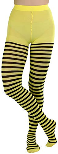 ToBeInStyle Women's Nylon Horizontal Striped Tights - Black/Yellow - One -