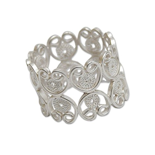 Artisan Crafted Sterling Filigree - NOVICA .925 Sterling Silver Artisan Crafted Filigree Band Ring, Catacaos Hearts'