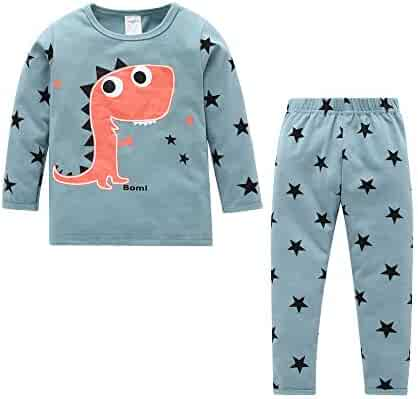 87fcc4491 Fineser Kid Pajama Outfits, Newborn Infant Kids Baby Boy Girl Dinosaur Star  Print Tops+