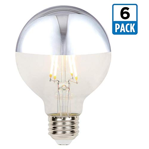 Westinghouse Lighting 5169020 4.5 (40-Watt Equivalent) G25 Dimmable Half Chrome Filament, Medium Base (6 Pack) LED Light Bulbs, 1/2