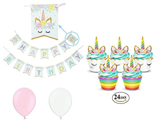 Unicorn Birthday Party Decorations - 24 Unicorn Cupcake Toppers & Wrappers, Unicorn Birthday Banner & 4 Pink and 4 White Balloons ()