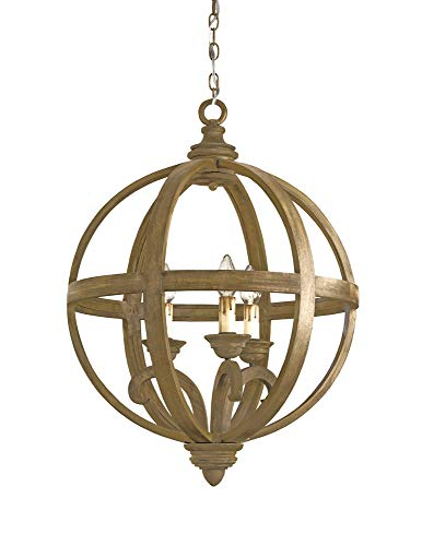 (Currey and Company 9133 Axel - Three Light Orb Small Chandelier, Chestnut Finish )