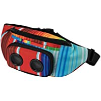 THE #1 Fannypack with Speakers. Bluetooth Fanny Pack for Parties / Festivals / Raves / Beach / Boats. Rechargeable, Works with iPhone & Android. #1 Bachelorette Party Gift (Aztec, 2018 Edition)