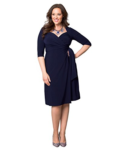 Kiyonna Women's Plus Size Sweetheart Knit Wrap Dress 1x Dark Sky Navy