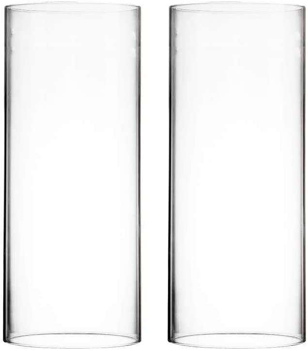 "CYS EXCEL Various Size Hurricane Candleholders, Chimney Tube, Glass Cylinder Open Both Ends, Open Ended Hurricane, Glass Shade Candle Holders Set of 2 (6"" Wide x 10"" Tall)"
