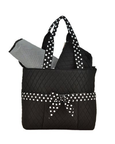 Bellaza Quilted Solid 3pc Diaper Tote Bag (Black/White)