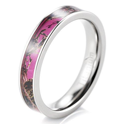 SHARDON Women's 4mm Titanium Ring with Pink Tree Camo Inlay