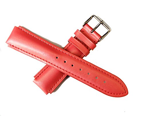 TechnoMarine 1021 17MM Genuine Leather Watch Strap Band PINK with Silver TechnoMarine Logo Stainless Steel Buckle